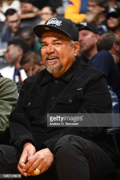 George Lopez smiles during a game between the Cleveland Cavaliers and the Los Angeles Lakers on January 13 2019 at STAPLES Center in Los Angeles...