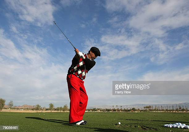 George Lopez warms up on the driving range before the first round of the 49th Bob Hope Chrysler Classic at the Silverrock Resort on January 16 2008...