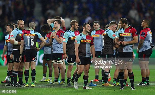 George Lowe of Harlequins looks on dejectedly alongside his team mates after the 1926 defeat during the European Rugby Challenge Cup Final match...