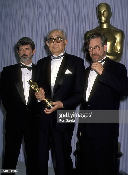 George Lucas Akira Kurosawa and Steven Spielberg at the Music Center in Los Angeles California