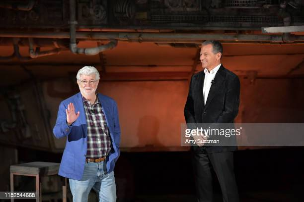 George Lucas and Bob Iger attend the Star Wars: Galaxy's Edge Media Preview at the Disneyland Resort on May 29, 2019 in Anaheim, California.