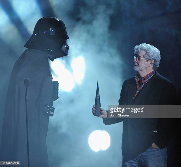 """George Lucas and Darth Vader onstage at Spike TV's """"SCREAM 2011"""" awards held at the Universal Studios Backlot on October 15, 2011 in Universal City,..."""