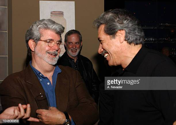 George Lucas and Edward James Olmos during 25th Mill Valley Film Festival PostScreening Party at Lapis Restaurant in San Francisco California United...