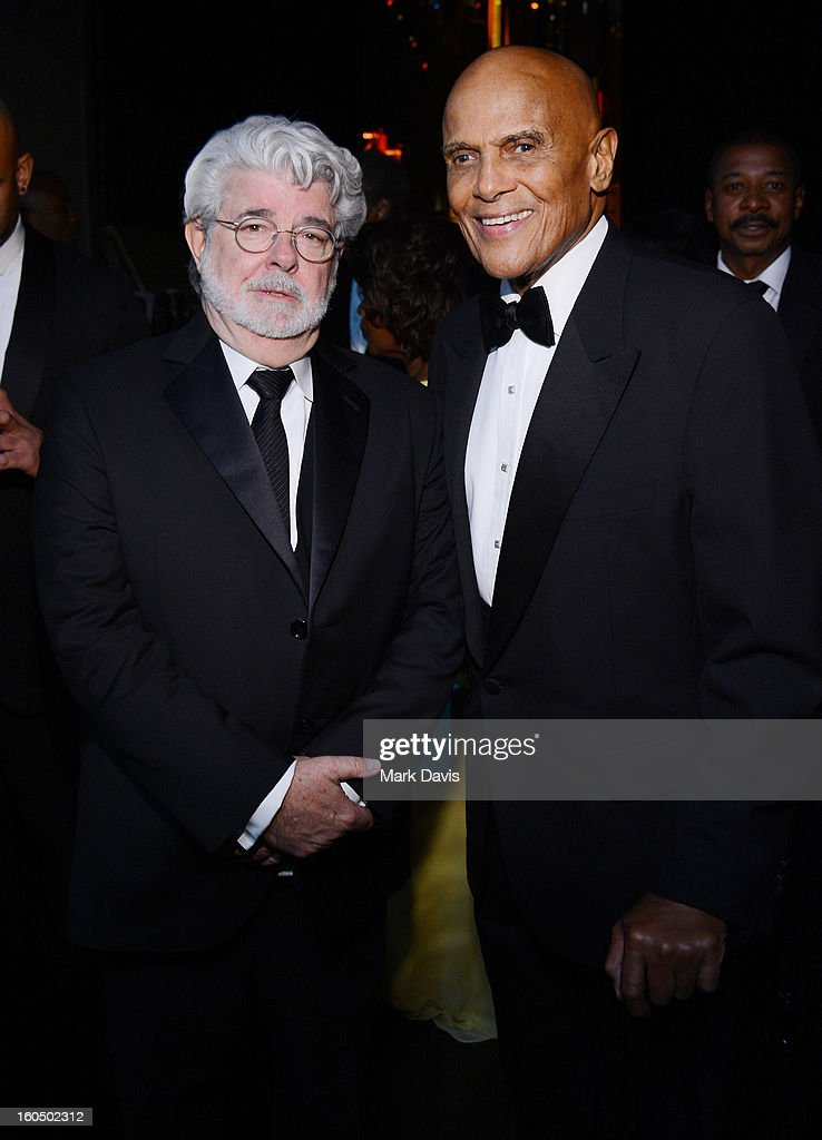 George Lucas and Harry Belafonte attend the 44th NAACP Image Awards at The Shrine Auditorium on February 1, 2013 in Los Angeles, California.