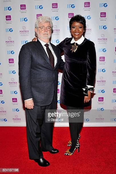 George Lucas and honoree Mellody Hobson attend the 2016 Matrix Awards at The Waldorf=Astoria on April 25 2016 in New York City