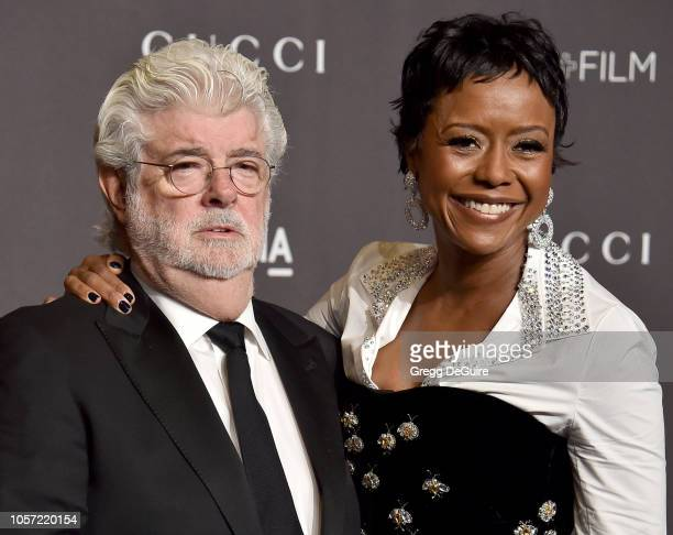 George Lucas and Mellody Hobson arrive at the 2018 LACMA Art Film Gala at LACMA on November 3 2018 in Los Angeles California