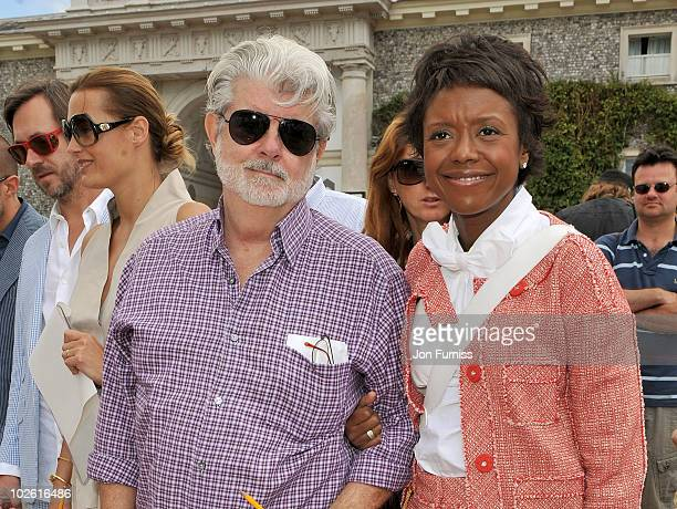 George Lucas and Mellody Hobson attend Goodwood Festival of Speed 2010 at Goodwood on July 4, 2010 in Chichester, England.