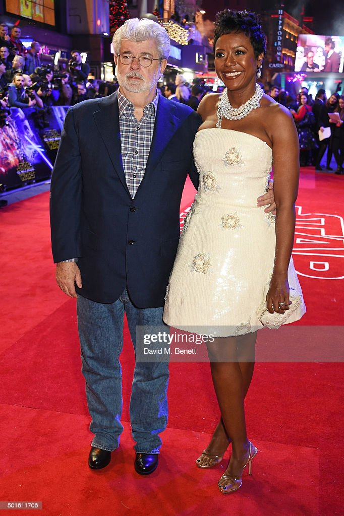 George Lucas (L) and Mellody Hobson attend the European Premiere of 'Star Wars: The Force Awakens' in Leicester Square on December 16, 2015 in London, England.