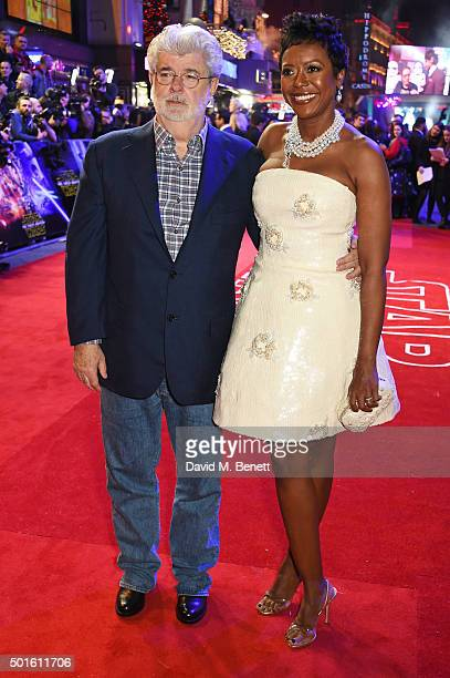"""George Lucas and Mellody Hobson attend the European Premiere of """"Star Wars: The Force Awakens"""" in Leicester Square on December 16, 2015 in London,..."""
