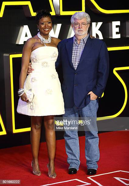 """George Lucas and Mellody Hobson attend the European Premiere of """"Star Wars: The Force Awakens"""" at Leicester Square on December 16, 2015 in London,..."""