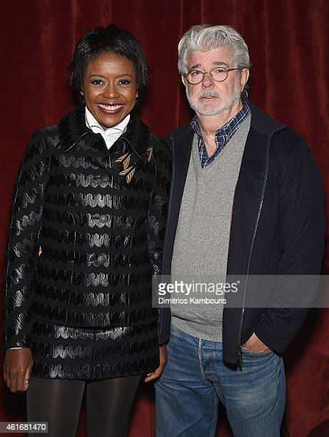 George Lucas and Mellody Hobson attend The New York Special Screening Of Lucasfilm's STRANGE MAGIC At The Tribeca Grand Hotel Hosted By The Cinema...