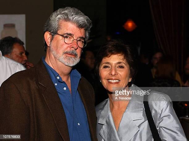 George Lucas and Senator Barbara Boxer during 25th Mill Valley Film Festival PostScreening Party at Lapis Restaurant in San Francisco California...