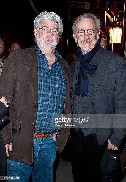 George Lucas and Steven Spielberg attend the Dedication of The Sumner M Redstone Production Building at USC on February 5 2013 in Los Angeles...