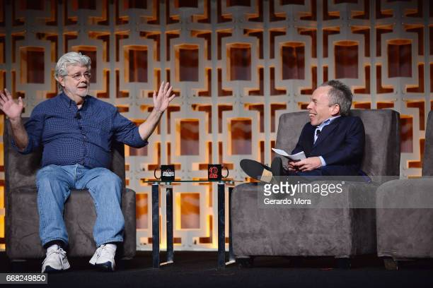 George Lucas and Warwick Davis attend the 40 Years of Star Wars panel during the 2017 Star Wars Celebrationat Orange County Convention Center on...