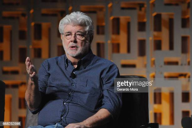 George Lucas attends the 40 Years of Star Wars panel during the 2017 Star Wars Celebration at Orange County Convention Center on April 13 2017 in...