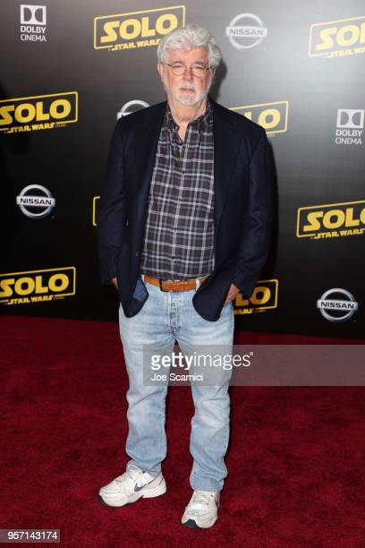 """George Lucas attends the premiere of Disney Pictures and Lucasfilm's """"Solo: A Star Wars Story"""" at the El Capitan Theatre on May 10, 2018 in..."""