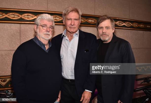 George Lucas Harrison Ford and Mark Hamill at Mark Hamill Star Ceremony on the Hollywood Walk of Fame on March 8 2018 at Hollywood Walk Of Fame in...