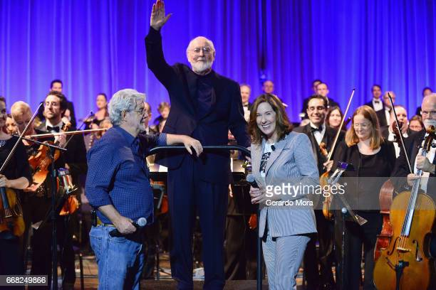 George Lucas John Williams and Kathleen Kennedy attend the 40 Years of Star Wars panel during the 2017 Star Wars Celebrationat Orange County...