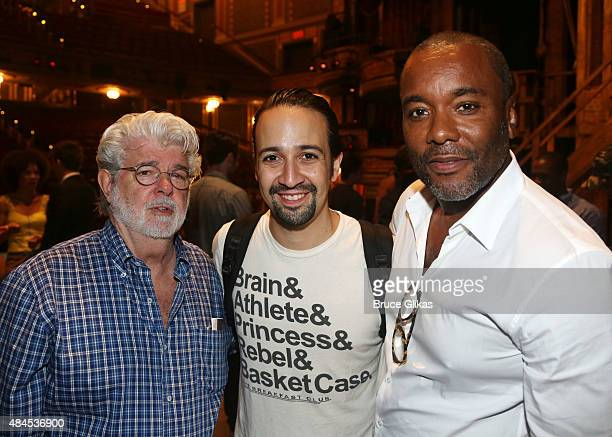 "George Lucas, Lin Manuel Miranda and Lee Daniels pose backstage at the hit musical ""Hamilton"" on Broadway at The Richard Rogers Theater on August 19,..."