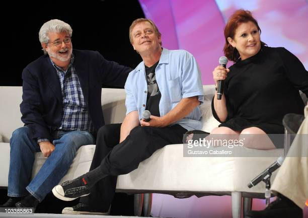 George Lucas Mark Hamill and Carrie Fisher attends Star Wars Celebration V at Orange County Convention Center on August 14 2010 in Orlando Florida