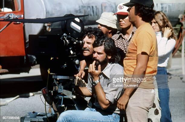 "George Lucas on the set of ""American Graffiti""."