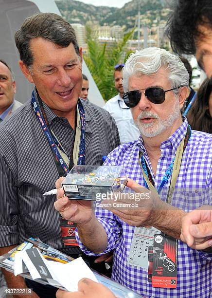 George Lucas onboard the Red Bull Energy Station during the Monaco Formula One Grand Prix at Circuit de Monaco on May 25 2014 in MonteCarlo Monaco