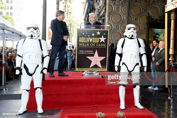 George Lucas speaks as Mark Hamill is honored with a star on the Hollywood Walk of Fame on March 8 2018 in Hollywood California