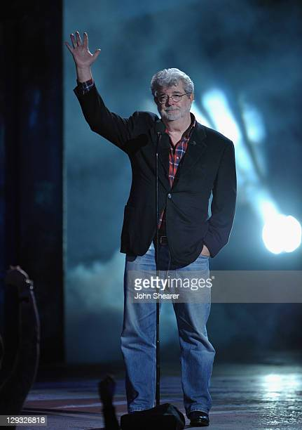 """George Lucas speaks onstage at Spike TV's """"SCREAM 2011"""" awards held at the Universal Studios Backlot on October 15, 2011 in Universal City,..."""