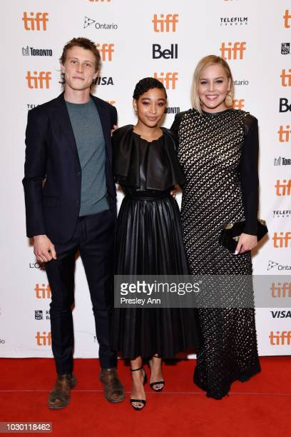 George MacKay Amandla Stenberg and Abbie Cornish attend the Where Hands Touch premiere during 2018 Toronto International Film Festival at Winter...