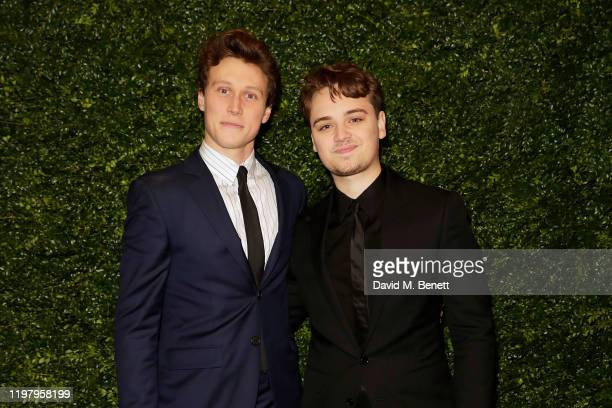George MacKay and Dean-Charles Chapman arrive at the Charles Finch & CHANEL Pre-BAFTA Party at 5 Hertford Street on February 1, 2020 in London,...