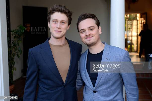 George MacKay and Dean-Charles Chapman attend a celebration for British Oscar nominees on February 07, 2020 in Los Angeles, California.