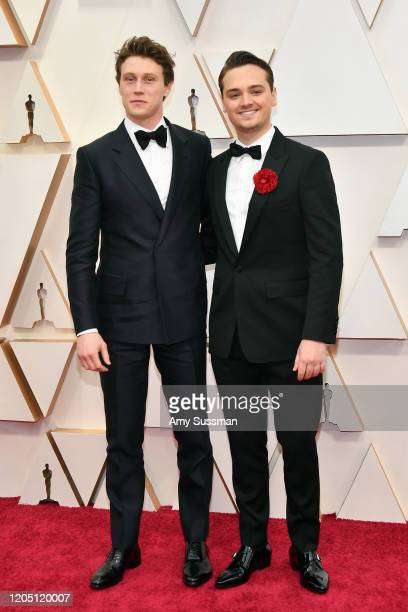 George MacKay and Dean-Charles Chapman attend the 92nd Annual Academy Awards at Hollywood and Highland on February 09, 2020 in Hollywood, California.