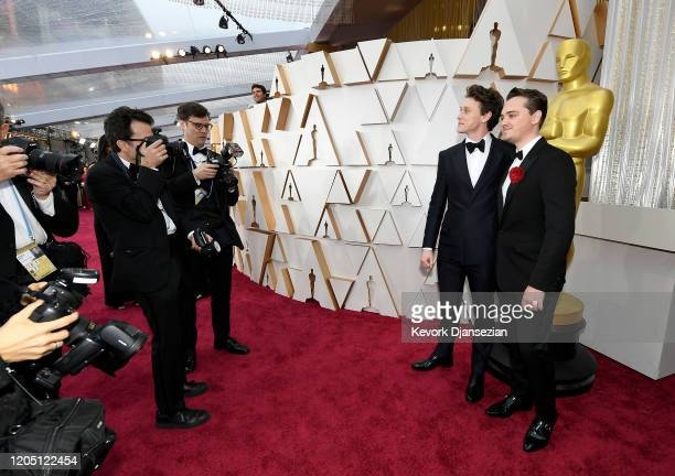 George MacKay and DeanCharles Chapman attend the 92nd Annual Academy Awards at Hollywood and Highland on February 09 2020 in Hollywood California