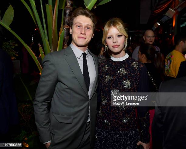 George MacKay and Mia Goth attend Vanity Fair Amazon Studios and Audi Celebrate The 2020 Awards Season at San Vicente Bungalows on January 04 2020 in...