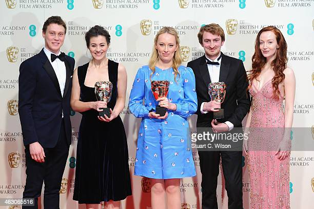 George MacKay and Olivia Grant present Jennifer Majka, Daisy Jacobs and Chris Hees, winners of the Best Short Animation award for 'The Bigger...