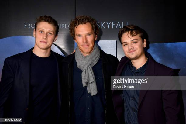 George MacKay Benedict Cumberbatch and DeanCharles Chapman during the BAFTA Screening Of 1917 film QA With Cast at Odeon Luxe Leicester Square on...