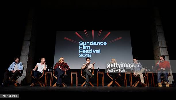 George MacKay Daniel Webber Bridget Carpenter JJ Abrams Sarah Gadon TR Knight and Trevor Groth attend the 112263 Sundance premiere QA on January 28...