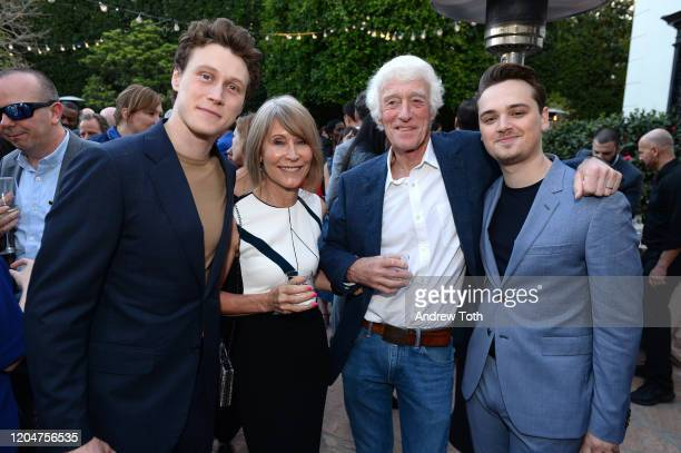 George MacKay James Ellis Deakins Roger Deakins and DeanCharles Chapman attend a celebration for British Oscar nominees on February 07 2020 in Los...
