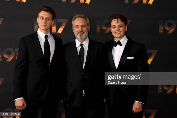 "George MacKay, Sam Mendes and Dean-Charles Chapman attend the ""1917"" World Premiere and Royal Performance at Odeon Luxe Leicester Square on December..."