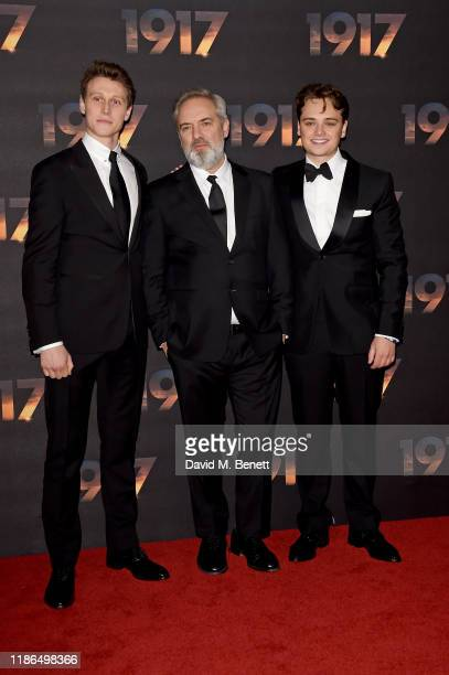 George MacKay Sam Mendes and DeanCharles Chapman attend the World Premiere and Royal Performance of 1917 at Odeon Luxe Leicester Square on December 4...