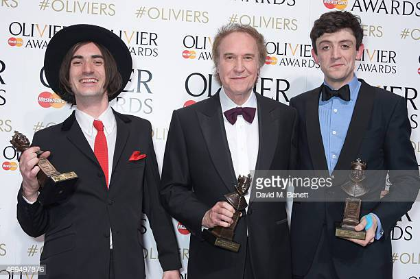 "George Maguire, winner of the Best Actor In A Supporting Role In A Musical for ""Sunny Afternoon"", Ray Davies, winner of the Autograph Sound Award for..."
