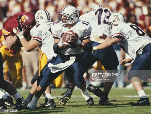 George Malauulu Quarterback for the University of Arizona Wildcats runs the ball during the NCAA Pac10 Conference college football game against the...