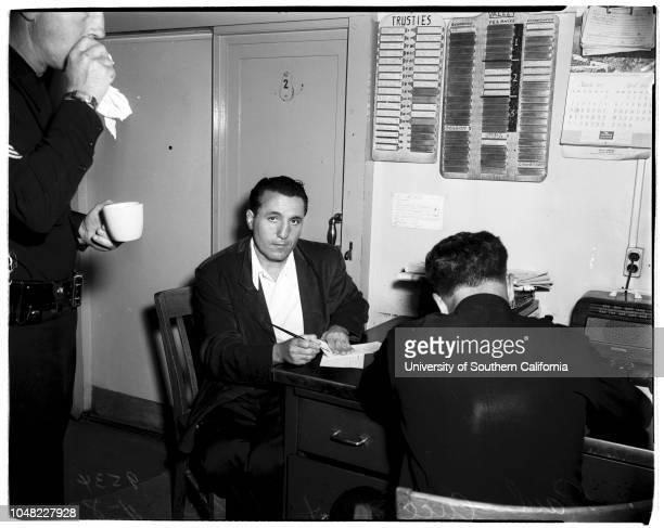 George Maley, suspect;Paul Cuccia, suspect;Mural R Tashjian, suspect;Detective Al Goosen;Detective Gerald Greely.;Caption slip reads: 'Photographer:...