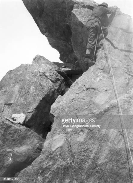 George Mallory coming down rock ridge China May 1921 Mount Everest Expedition 1921