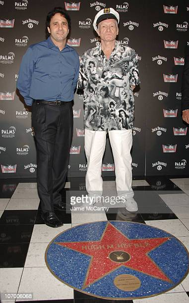 George Maloof and Hugh Hefner during Hugh Hefner Receives Star On Walk Of Fame At Brenden Theater In The Palms Hotel and Casino Hosted by Jack...
