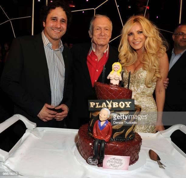 George Maloof Hugh Hefner and Crystal Harris celebrate Hugh Hefner's 84th birthday at the Moon Nightclub at The Palms Casino Resort on April 10 2010...