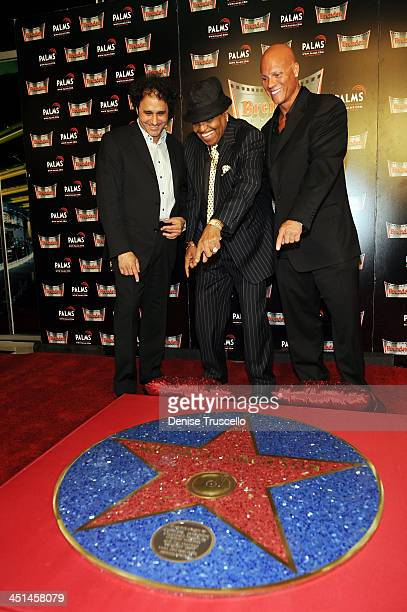 George Maloof Joe Jackson and Johnny Brenden attend the unveiling of Michael Jackson's Brenden Star dedication at The Palms Casino Resort on August...