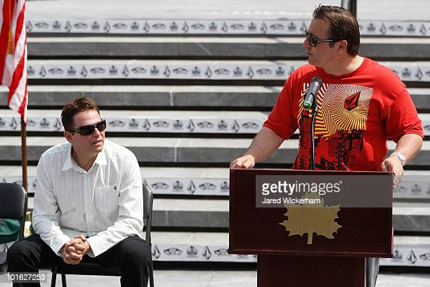 George Maloof talks during the Maloof Money Cup ribbon cutting ceremony while brother Joe Maloof listens on June 4, 2010 at Flushing Meadows Corona...