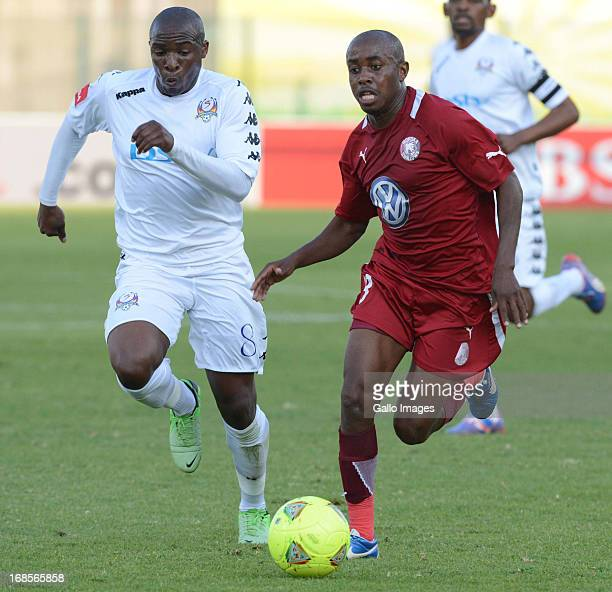 George Maluleka of SuperSport United and Bennett Chenene of Moroka Swallows during the Absa Premiership match between SuperSport United and Moroka...