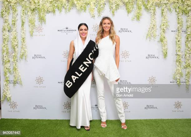 George Maple and Jennifer Hawkins attend The Star Doncaster Mile Luncheon at The Star on April 5 2018 in Sydney Australia